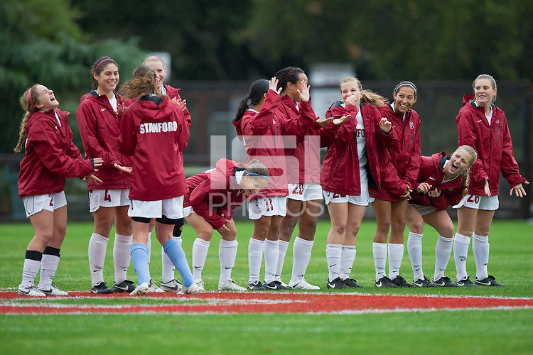 STANFORD, CA - November 7, 2010: Team during pregame ceremonies before a soccer match against Oregon in Stanford, California.  Stanford won 3-0.