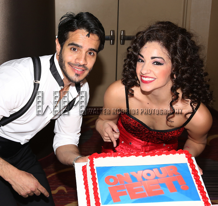 Ektor Rivera and Ana Villafañe of the Broadway production of 'On Your Feet!' celebrate their 500th performance at Marquis Hotel  on January 18, 2017 in New York City.