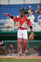 Batavia Muckdogs catcher Pablo Garcia (4) signals two out during a game against the Lowell Spinners on July 15, 2018 at Dwyer Stadium in Batavia, New York.  Lowell defeated Batavia 6-2.  (Mike Janes/Four Seam Images)
