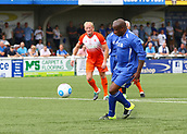 June 17th 2017, Gander Green Lane, Sutton, England; Football Charity Match; Chelsea Legends versus Rangers Legends; Chelsea's Frank Sinclair chips Rangers Keeper Andy Goram from the penalty spot, 4-2 Rangers