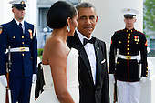 United States President Obama and the First Lady Michelle Obama await the arrival of Prime Minister Lee Hsien Loong and Madam Ho Ching at the North Portico of the White House in Washington, DC on Tuesday, August 2, 2016. <br /> Credit: Leigh Vogel / Pool via CNP
