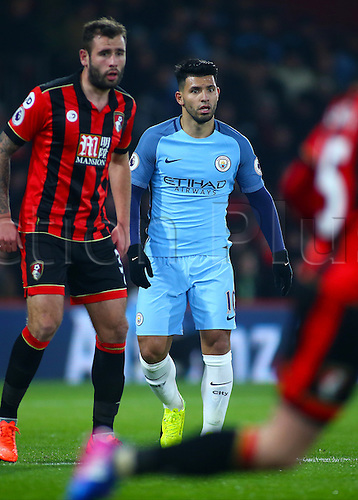 February 13th 2017, Vitality Stadium, Bournemouth, Dorset, England; EPL Premier league football, Bournemouth versus Manchester City; Sergio Aguero of Manchester City is marked by Steve Cook of Bournemouth, as he waits for a forward pass