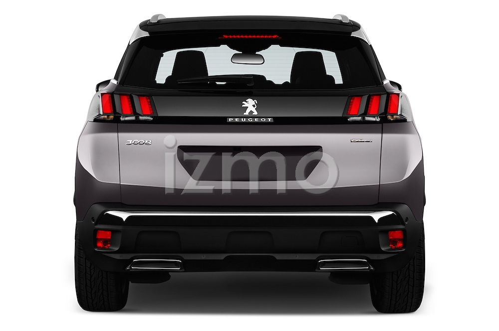 Straight rear view of 2017 Peugeot 3008 GT-Line 5 Door Suv Rear View  stock images