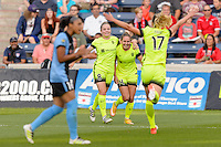 Chicago, IL - Sunday Sept. 04, 2016: Kim Little, Manon Melis celebrates scoring, Beverly Yanez during a regular season National Women's Soccer League (NWSL) match between the Chicago Red Stars and Seattle Reign FC at Toyota Park.