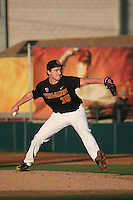 Connor Lunn #35 of the Southern California Trojans pitches against the Coppin State Eagles at Dedeaux Field on February 18, 2017 in Los Angeles, California. Southern California defeated Coppin State, 22-2. (Larry Goren/Four Seam Images)
