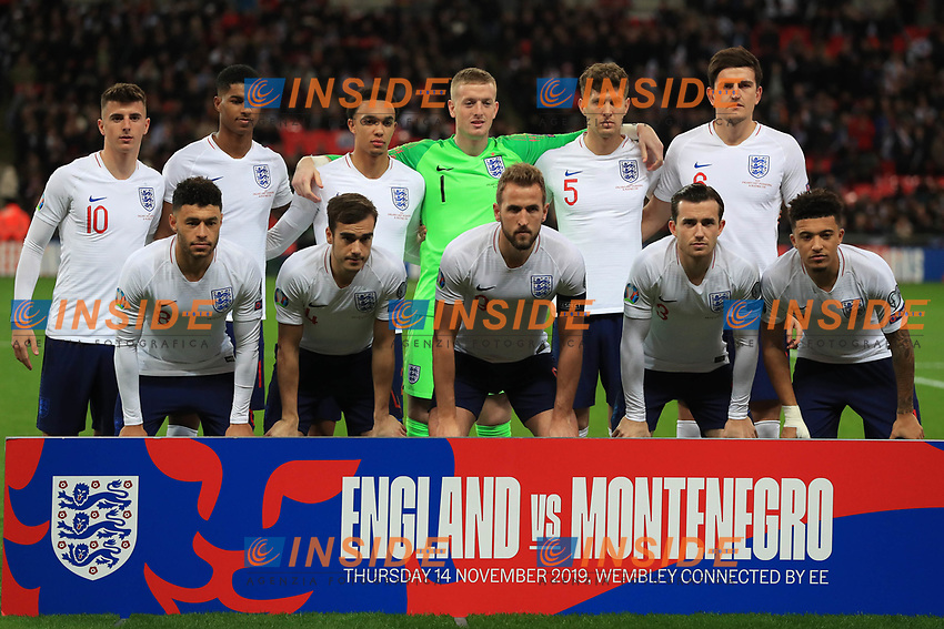 England line up for a team photo before the UEFA Euro 2020 Qualifying Group A match between England and Montenegro at Wembley Stadium on November 14th 2019 in London, England. (Photo by Matt Bradshaw/phcimages.com)<br /> Foto PHC Images / Insidefoto <br /> ITALY ONLY
