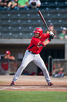 Orem Owlz designated hitter Francisco Del Valle (23) at bat during a Pioneer League game against the Missoula Osprey at Ogren Park Allegiance Field on August 19, 2018 in Missoula, Montana. The Missoula Osprey defeated the Orem Owlz by a score of 8-0. (Zachary Lucy/Four Seam Images)