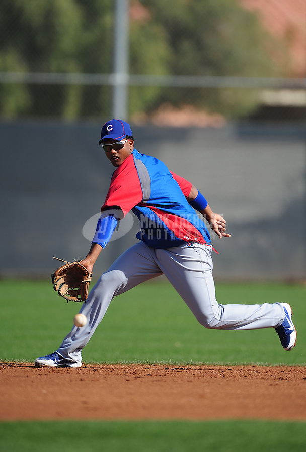 Feb. 29, 2012; Mesa, AZ, USA; Chicago Cubs shortstop Starlin Castro during spring training workouts at Fitch Park.  Mandatory Credit: Mark J. Rebilas-.