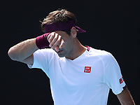28th January 2020; Melbourne Park, Melbourne, Victoria, Australia; Australian Open Tennis, Day 9; Roger Federer of Switzerland feels the pressure during his match against Tennys Sandgren of USA