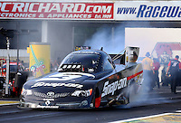 May 31, 2013; Englishtown, NJ, USA: NHRA funny car driver Cruz Pedregon during qualifying for the Summer Nationals at Raceway Park. Mandatory Credit: Mark J. Rebilas-