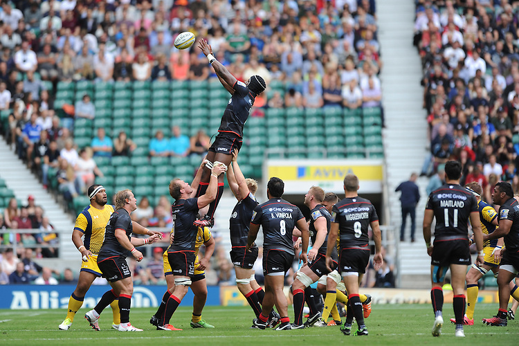 Maro Itoje of Saracens secures an unopposed lineout ball during the Aviva Premiership Rugby match between Saracens and Worcester Warriors at Twickenham Stadium on Saturday 03 September 2016 (Photo by Rob Munro/Stewart Communications)