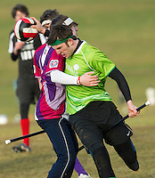 08 MAR 2015 - NOTTINGHAM, GBR - Keele Squirrels chaser Chris Scholes-Lawrence tries to evade a challenge during the 2015 British Quidditch Cup bronze medal match against Loughborough Longshots at Woollaton Hall and Deer Park in Nottingham, Great Britain (PHOTO COPYRIGHT © 2015 NIGEL FARROW, ALL RIGHTS RESERVED)