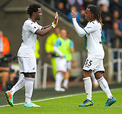 10th September 2017, Liberty Stadium, Swansea, Wales; EPL Premier League football, Swansea versus Newcastle United; Wilfried Bony of Swansea City comes on for Renato Sanches of Swansea City on his return to Swansea City during the transfer window