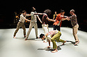 Ipswich, UK. 15.02.2014. Luca Silvestrini's PROTEIN present BORDER TALES at Dance East, Jerwood DanceHouse. Picture shows:  Stephen Moynihan, Femi Oyewole, Salah el Brogy, YuYu Rau (behind), Kenny Wing Tao Ho, Stuart Waters, Eryck Brahmania (front). Photograph © Jane Hobson.