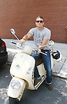 Billy Manussen on his Vespa - As The World Turns' shoots its last show on June 23, 2010 at the studios in Brooklyn, New York. (Photo by Sue Coflin/Max Photos)
