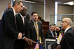 Nevada Senators, from left, Scott Hammond, Kelvin Atkinson, Mark Manendo and Mo Denis talk on the Senate floor at the Legislative Building in Carson City, Nev., on Tuesday, Feb. 26, 2013..Photo by Cathleen Allison