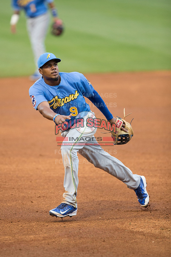 Myrtle Beach Pelicans third baseman Jeimer Candelario (9) on defense against the Winston-Salem Dash at BB&T Ballpark on April 18, 2015 in Winston-Salem, North Carolina.  The Pelicans defeated the Dash 8-4 in game two of a double-header.  (Brian Westerholt/Four Seam Images)