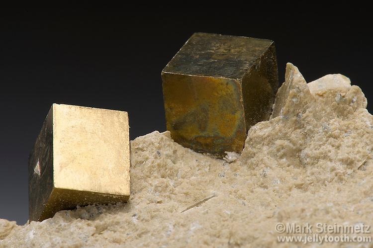Cubic pyrite crystals in matrix. Valdengrillo, Soria, Spain
