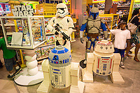 "Lego Star Wars display in the Toys R Us store in Times Square in New York on so-called ""Force Friday"", September 4, 2015. ""Force Friday"" is the name given by the Walt Disney Co. on the release of the Star Wars merchandise, three months prior to the release of the film. Disney acquired the Star Wars franchise in 2012 when it bought Lucasfilm for $4.1 billion. (© Richard B. Levine)"