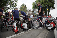 Team IAM bringing in the bikes for UCI-inspection at the start<br /> <br /> stage 9: TTT Vannes - Plumelec (28km)<br /> 2015 Tour de France