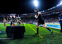 Sam Whitelock leads his team out for the Steinlager Series international rugby match between the New Zealand All Blacks and France at Westpac Stadium in Wellington, New Zealand on Saturday, 16 June 2018. Photo: Dave Lintott / lintottphoto.co.nz
