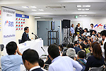 Katsuya Okada, leader of the main opposition Democratic Party (DP) attends a press conference following Sunday's upper house election at the party's headquarters in Tokyo, Japan on July 10, 2016. (Photo by AFLO)