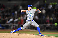 Relief pitcher David McKay (26) of the Lexington Legends delivers a pitch in a game against the Columbia Fireflies on Friday, April 21, 2017, at Spirit Communications Park in Columbia, South Carolina. Columbia won, 5-0. (Tom Priddy/Four Seam Images)