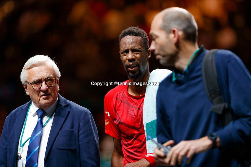 Rotterdam, The Netherlands, 14 Februari 2020, ABNAMRO World Tennis Tournament, Ahoy, <br /> Gaël Monfils (FRA) leaves the court with injury.<br /> Photo: www.tennisimages.com