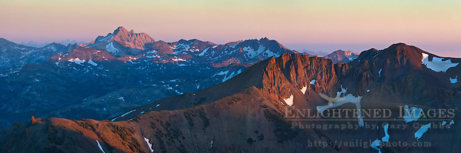 Sunset light on Mountain Peaks of the High Sierra as seen from Leavitt Pass, California
