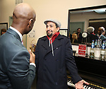 "Donald Webber Jr. and Lin-Manuel Miranda backstage after a Song preview performance of the Bebe Winans Broadway Bound Musical ""Born For This"" at Feinstein's 54 Below on November 5, 2018 in New York City."