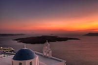 Sunset from Firostefani in Santorini, Greece