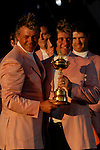 Close friends Darren Clarke and Lee Westwood, part of the victorious European Team, hold the Ryder Cup during the closing ceremony of the 2006 Ryder Cup at The K Club..Photo: Eoin Clarke/Newsfile.