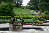 USA, New York City, Central Park, Observatory Garden, Untermyer fountain with bronze sculpture of three dancing maidens, designed 1903 by the German artist and sculpor Walter Schott, the fountain was erected in memory of prominent lawyer Samuel Untermyer, 1858-1940, before coming to Central Park it had stood on the grounds of his Yonkers estate , other versions are found in Antwerp's Den Brandt Park and in the courtyard of the Burg Schlitz castle, Mecklenburg region East Germany, smaller versions found in parks in Northern California and in the Austrian Alps and in a garden in Berlin. The original seems to be the one in Burg Schlitz, East Germany, and is a suspected Nazi looted Artwork as Nazi have confiscated it 1934  from the palais of  jewish publisher Rudolf Mosse in Berlin