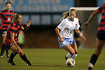 13 November 2015: North Carolina's Megan Buckingham (18) and Liberty's Rebekah Page (12). The University of North Carolina Tar Heels hosted the Liberty University Flames at Fetzer Field in Chapel Hill, NC in a 2015 NCAA Division I Women's Soccer game. UNC won the game 3-0.