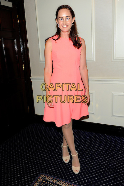 Sophie Kinsella.Romantic Novel of the Year Awards, the Royal Air Force Club, The Presidents Room, 128 Piccadilly, London, England..February 26th, 2013.full length pink salmon sleeveless dress .CAP/CJ.©Chris Joseph/Capital Pictures.