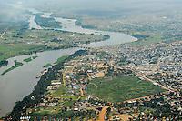 SOUTH SUDAN  aerial view of capital Juba at river White Nile locally called Bahr al-Dschabal / SUED-SUDAN  Luftaufnahme der Hauptstadt Juba am westlichen Ufer des Weissen Nils