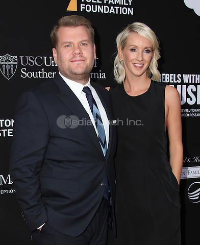 SANTA MONICA, CA - MAY 11: James Corden, Julia Carey arrives at the 3rd Biennial Rebels With A Cause Fundraiser at Barker Hangar on May 11, 2016 in Santa Monica, California.  Credit: Parisa/MediaPunch.
