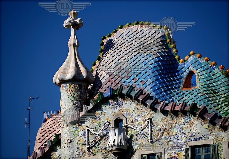 The exterior of Antoni Gaudi's Casa Batllo in Passeig de Gracia. It was built between 1904 and 1906 on behalf of textile industrialist Josep Batllo.... /Felix Features