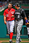 10 July 2011: Washington Nationals third baseman Ryan Zimmerman has words with Troy Tulowitzki during a game against the Colorado Rockies at Nationals Park in Washington, District of Columbia. The Nationals shut out the visiting Rockies 2-0 salvaging the last game their 3-game series at home prior to the All-Star break. Mandatory Credit: Ed Wolfstein Photo