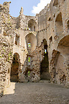 Ruins of Nunney castle, Somerset, England, UK built in 14th century ruined in Civil War
