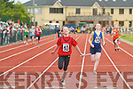 Laura Lynch Rock Street/Caherslee crosses the line to win the u14 girls 4x100m in front of Sarah Taylor Spa/Muckross at the Community Games County finals in An Riocht Castleisland last Sunday.