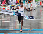 March 3, 2019, Tokyo, Japan - Ethiopia's Birhanu Legese crosses the finish line of the Tokyo Marathon 2019 in Tokyo on Sunday, March 3, 2019. Legese won the race with a time of 2 hours 4 minutes 48 seconds.  (Photo by Yoshio Tsunoda/AFLO)