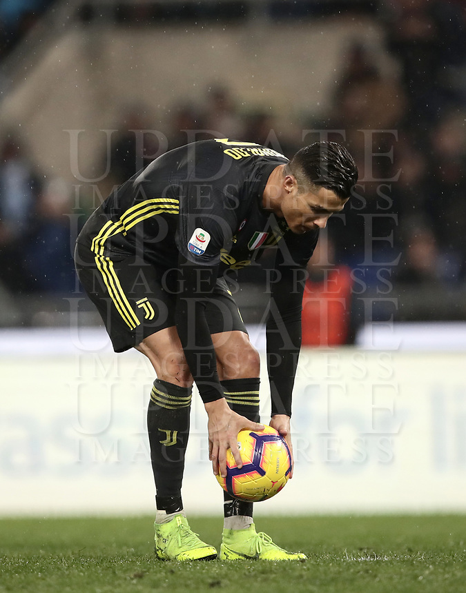 Football, Serie A: S.S. Lazio - Juventus, Olympic stadium, Rome, January 27, 2019. <br /> Juventus' Cristiano Ronaldo before kicking a penalty during the Italian Serie A football match between S.S. Lazio and Juventus at Rome's Olympic stadium, Rome on January 27, 2019.<br /> UPDATE IMAGES PRESS/Isabella Bonotto