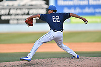 Asheville Tourists pitcher Julian Fernandez (22) delivers a pitch during a game against the Lexington Legends at McCormick Field on May 29, 2017 in Asheville, North Carolina. The Legends defeated the Tourists 5-2. (Tony Farlow/Four Seam Images)
