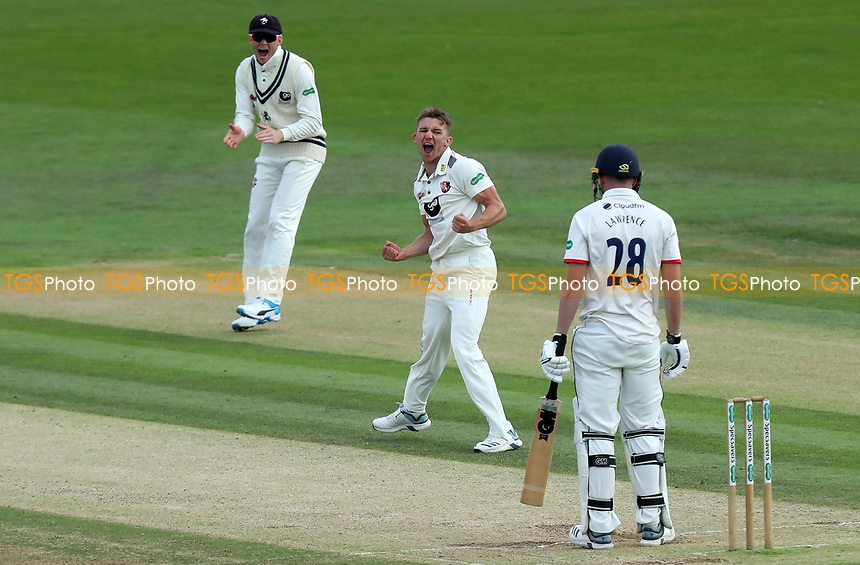 Matthew Milnes of Kent celebrates taking the wicket of Daniel Lawrence  during Kent CCC vs Essex CCC, Specsavers County Championship Division 1 Cricket at the St Lawrence Ground on 20th August 2019