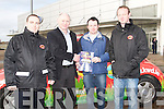 DRAW: Eric Wharton who won the KWD Recycleing draw of a Holiday to Orlando, Florida on Saturday at Manor Retail Park, Tralee on Saturday. L-r: Brian Bruton, Sean Murphy (KWD), Eric Wharton(winner) and Noel O'Reilly(KWD)...... ....