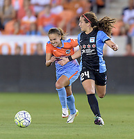 Danielle Colaprico (24) of the Chicago Red Stars looks to pass the ball in the first half against the Houston Dash on Saturday, April 16, 2016 at BBVA Compass Stadium in Houston Texas.