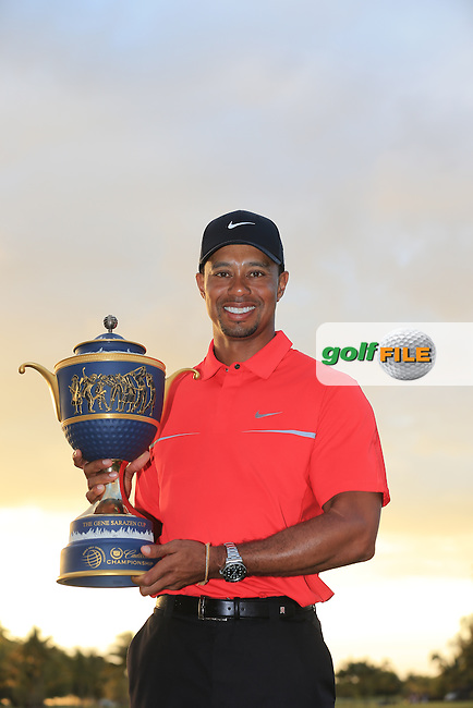 Tiger Woods (USA) celebrates after winning during the final day at the WGC Cadillac championship at Doral Golf Resort & Spa,Doral, Florida,USA..Picture: Fran Caffrey / www.golffile.ie ..