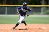 Tampa Bay Rays third baseman Cristian Toribio (70) during an Instructional League game against the Pittsburgh Pirates on September 27, 2014 at Charlotte Sports Park in Port Charlotte, Florida.  (Mike Janes/Four Seam Images)