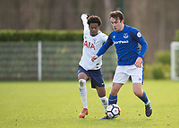Jose Baxter of Everton battles with Shayon Harrison of Tottenham Hotspur during the U23 - Premier League 2 match between Tottenham Hotspur U23 and Everton at Tottenham Training Ground, Hotspur Way, England on 15 January 2018. Photo by Vince  Mignott / PRiME Media Images.